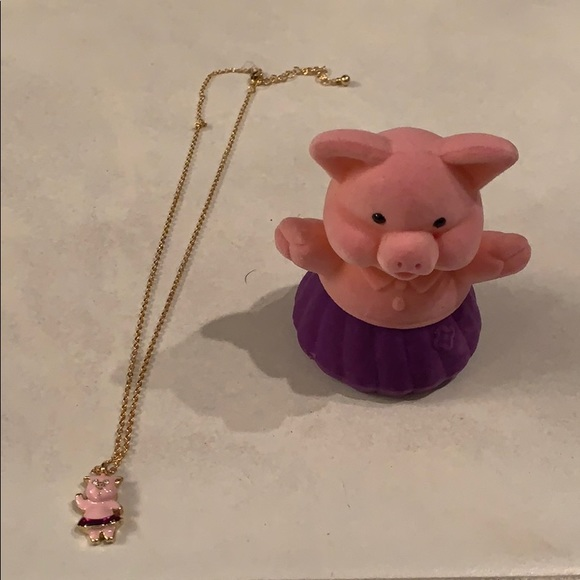 Pig necklace with case
